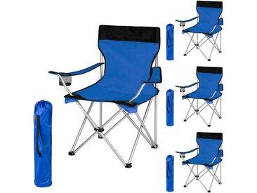 4 Chaises de Camping Pliables avec Porte Boisson et Housse Sac de transport Bleu Noir