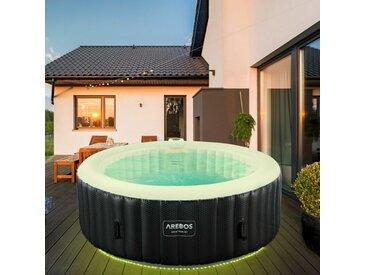 AREBOS Gonflable de Massage Bien-être de Piscine de Spa Extérieur avec LED Rond