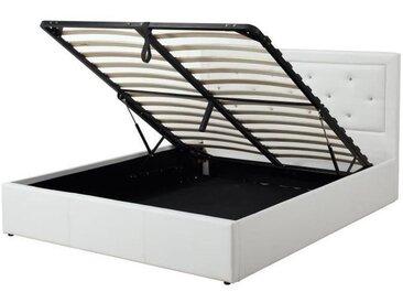 FILIP Lit coffre adulte contemporain simili blanc - Sommiet et tete de lit capitonnée inclus - l 160 x L 200 cm