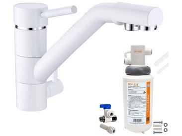 Robinet mitigeur 3 voies Samoa Blanc + Kit de filtration QCF-3001/321