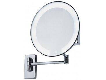 Miroir Cosmos lumineux grossissant X5 sensitif - Led - Laiton chromé/chrome - Pile - Tubulaire
