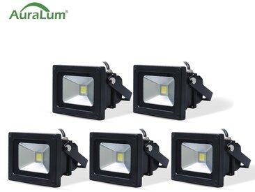 5×Auralum Projecteur LED 10W IP65 Éclairage Extérieur et Intérieur 800-850LM Spot LED Blanc Foird 6000K Coque Noir