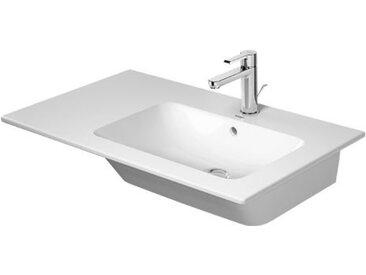 Duravit ME by Starck Meuble lave-mains 83 cm, 3 points d'eau, avec trop-plein, avec table de robinet, asymétrique, lavabo à droite, Coloris: Blanc avec Wondergliss - 23468300301