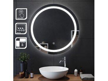 SIRHONA 80x80cm Miroir de maquillage monté sur mur avec miroir éclairé rond et miroir de salle de bains avec contr?le par capteur, anti-poussière et anti-buée, lumière blanche froide