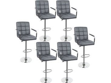 Lot de 6 Tabourets de bar haut chaise de bar PU chrome hauteur réglable grande base Φ38cm gris