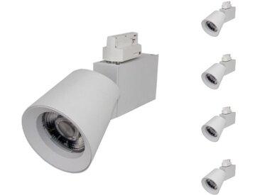 Spot LED sur Rail 25W 38° Triphasé BLANC (Pack de 5) - Blanc Neutre 4000K - 5500K