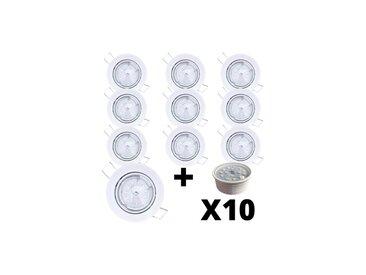 Lot 10 Spots Led encastrables extra plats blancs équipés LED 5W 2700K