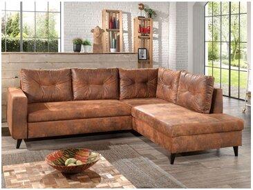 NORDIC - Canapé d'angle L - 5 places - Convertible - Industriel vintage - Droit Couleur - Marron - Marron