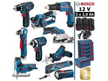 Pack 12V 10 outils: Perceuse GSR 12V-15 + Visseuse plaquistes GTB 12V-11 + Rabot GHO 12V-20 + Perceuse d'angle GWB 12V-10 + Visseuse à chocs GDR 12V-105 + Scie circulaire GSK 12V-26 + Scie sauteuse GST 12V-70 + Scie sabre GSA 12V-14 + Découpeur-ponceur GO