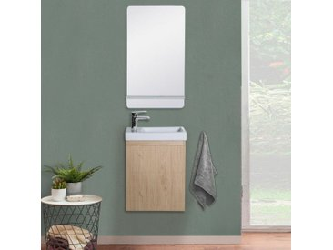 Lave-mains LISA + Miroir avec tablette Blanche - Décor chêne