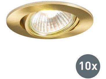 Ensemble de 10 spots encastrés orientables or - Cisco Qazqa Moderne Luminaire interieur Rond