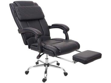 Fauteuil de bureau ergonomique avec repose-pieds extensible appui-tête simili-cuir noir