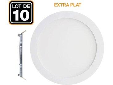 10 Spot Encastrable LED 6W Rond Extra-Plat Blanc Neutre 4500K