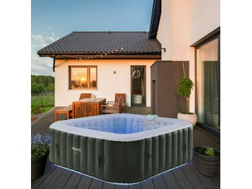 In-Outdoor Jacuzzi Spa Piscine Spa Chauffage Gonflable Massage avec LED - bunt - Arebos