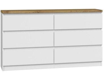 JAGGE - Commode de chambre + plateau épais 6 tiroirs - 138x78x40 cm - Style scandinave - Meuble de rangement - Double finition - Blanc/Chêne