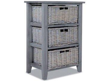 OLIVE - Meuble de rangement colonne en bois gris avec 3 paniers en osier
