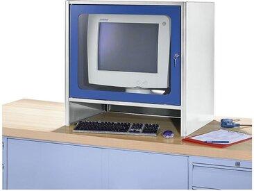 Certeo - RAU Compartiment pour écran à ventilateur intégré - h x l x p 710 x 710 x 550 mm - gris clair / bleu gentiane - Coloris corps: gris clair RAL 7035