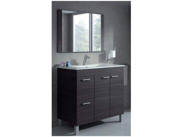 Meuble de salle de bain sur le sol Aktivia 80 cm gris cendré avec miroir | Gris cendré - Avec lampe Led