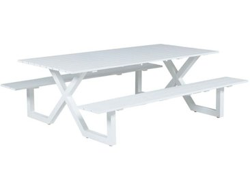Table de pique-nique Napels - L210xW170xH71 - blanc mat - Garden Impressions
