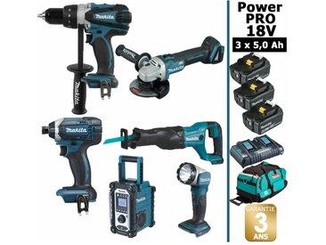 Pack Power PRO 6 outils 18V: Perceuse DDF458 + Visseuse à choc DTD152 + Meuleuse DGA504 + Scie récipro DJR186 + Radio DMR107 + Lampe Torche LED + 3 batt 5Ah + sac MAKITA
