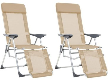 Chaises de camping pliables 2pcs et repose-pied Crème Aluminium