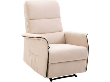 Fauteuil de relaxation grand confort dossier inclinable repose-pied ajustable flanelle beige