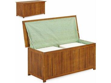 Deuba - Coffre boîte de rangement jardin 117x50x59cm en acacia avec bâche intérieure