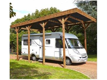 Cerland - MADEIRA- Carport en bois traité autoclave marron, toit en polycarbonate gris antracite, 1 camping car, 32,4m² avec panneaux latéraux. - en pin sylvestre bois - qualité garantie- dimension extérieur : 404 X 802cm, Hauteur 381 cm- Camping-car