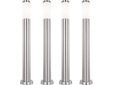 Ensemble de 4 lampadaires LED, acier inoxydable, opale, H 80 cm, BOSTON