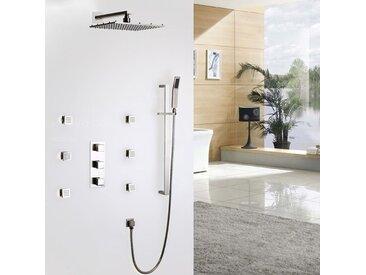 Luxueux système thermostatique de douche carré en nickel brossé Valve de douche standard Barre de douche Sans LED 300 mm