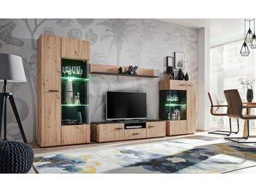 PALE | Unité murale style contemporain 4 pcs | Éclairage LED inclus | Mur TV | Ensembles meubles salon séjour | Meuble bas TV | Chêne/Noir - Chêne/Noir
