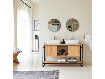 Meuble Salle de bain en bois de teck et métal 140 Michal
