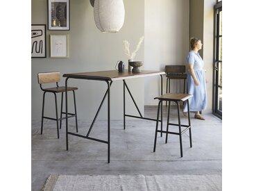 Table haute en métal et bois de palissandre 140x85 Talia