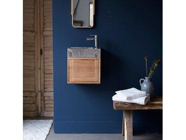 Meuble Lave main en bois de teck et marbre Basic grey