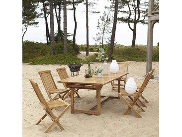 Salon de jardin rectangulaire en bois de teck Capri 6