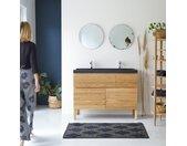 Meuble Salle de bain en bois de chêne et pierre de lave 120 Easy