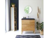Meuble Salle de bain en bois de chêne et pierre de lave 80 Easy