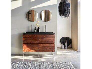 Meuble Salle de bain en bois de palissandre et pierre de lave 120 Nova