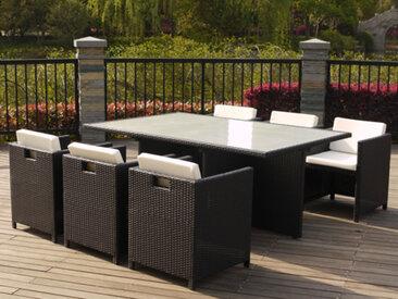 Ensemble MICHIGAN - 1 table + 6 fauteuils