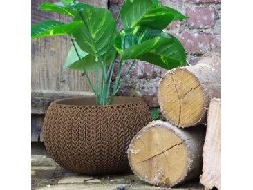 Pot + Cache pot CURVER aspect tricoté - taille S - Marron