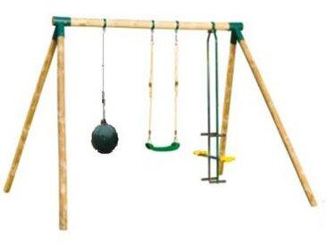 Portique en bois IROQUOIS - 1 balançoire + 1 balançoire bouée + 1 vis-à-vis