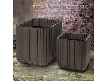 Lot de 2 pots + cache-pots CLUB aspect bois lamé marron - Taille S + M