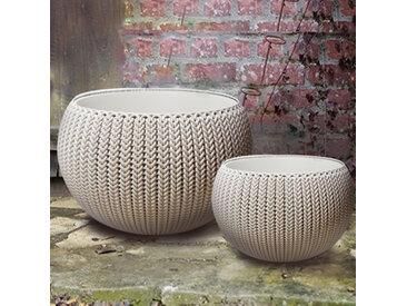 Lot de 2 pots + cache-pots CURVER aspect tricoté - Taille S + M beige