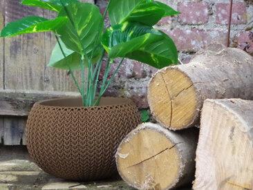 Pot + Cache pot CURVER aspect tricoté - Taille M - Marron