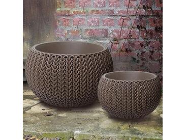 Lot de 2 pots + cache-pots CURVER aspect tricoté - Taille S + M taupe