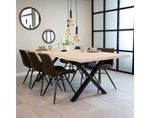 Devin Table À Manger Industrielle Blanc 240x100 cm Pieds-X