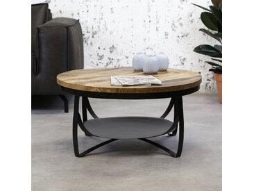 Oxis Table Basse Industrielle Ronde Ø90 cm - Bois Massif