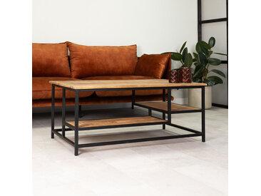 Livia Table Basse Industrielle 110x60 cm - Bois Massif