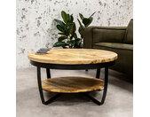 Baldo Table Basse Industrielle Ronde Ø90 cm - Bois Manguier