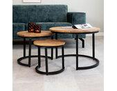 Oxford Table Basse  Industrielle Ø47 / 39 / 29 cm - Bois Massif Set De 3